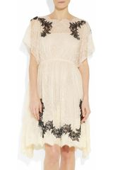 Valentino Appliquéd Lace Dress in Black (cream) - Lyst