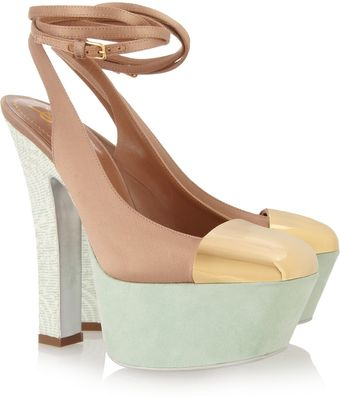 Yves Saint Laurent Obsession Satin and Suede Pumps - Lyst