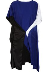 Zero + Maria Cornejo Dio Draped Colorblock Satin Dress - Lyst