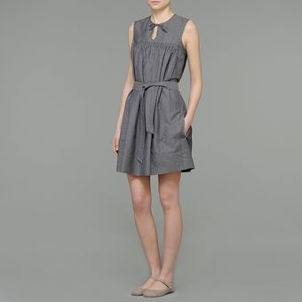 Aspesi Linen Blend Dress with Belt - Lyst