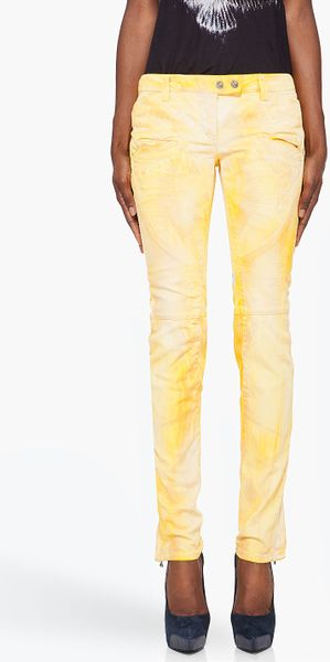 Balmain  Printed Jeans in Yellow - Lyst