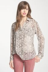 Bellatrix Sheer Printed Shirt - Lyst