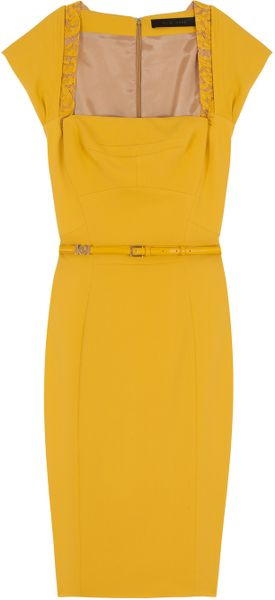 Elie Saab Cap Sleeve Lace Trim Dress in Yellow - Lyst
