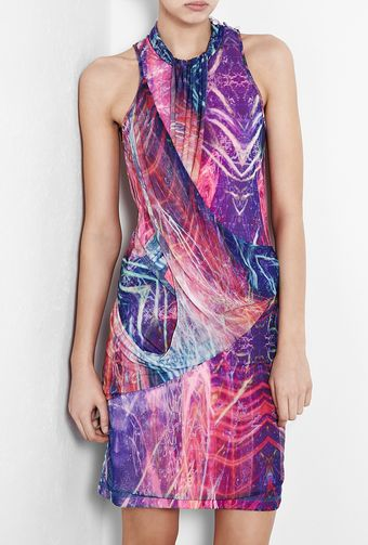 McQ by Alexander McQueen Sheer Printed Drape Dress - Lyst