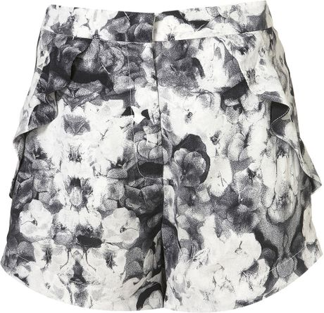 Topshop Poppy Print Frill Pocket Shorts in Gray (multi) - Lyst