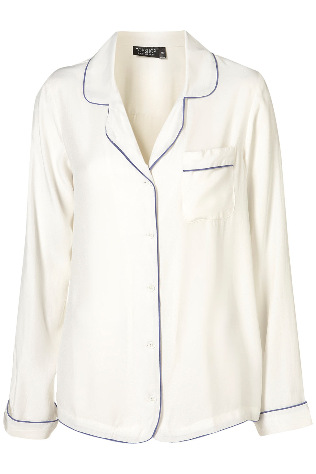 f392a4d024 Lyst - TOPSHOP Silk Pyjama Style Shirt in White