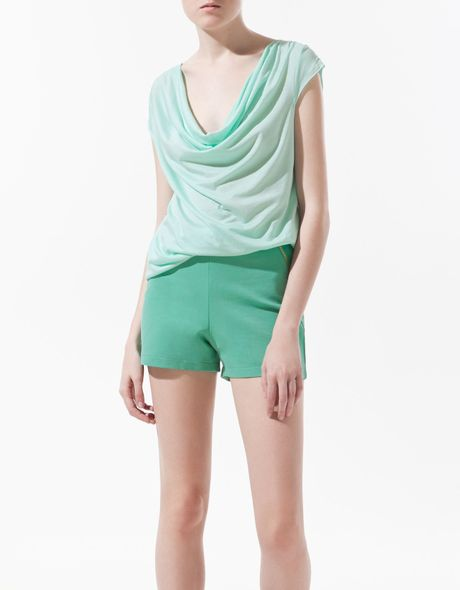Zara Draped Tshirt in Blue (sea) - Lyst