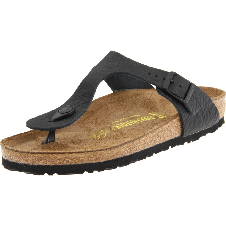 Birkenstock Womens Gizeh Thong Sandal In Black Cortina