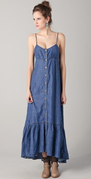 Free People Dress Open Back in Blue - Lyst