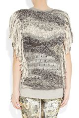 Isabel Marant Agora Fringed Silk and Linenblend Poncho in Gray - Lyst