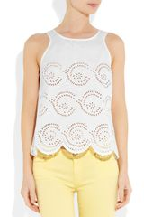 Marc By Marc Jacobs Palmetto Broderie Anglaise Cotton Top in White - Lyst