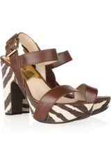Michael by Michael Kors Ivana Leather and Printed Canvas Sandals - Lyst