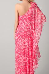 Notte By Marchesa One Shoulder Chiffon Gown in Pink (coral) - Lyst