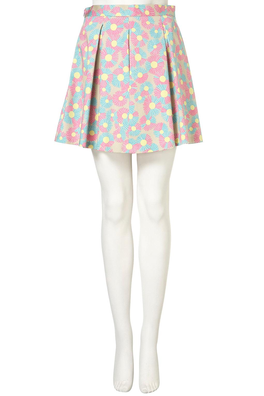 topshop printed pleated skirt lyst