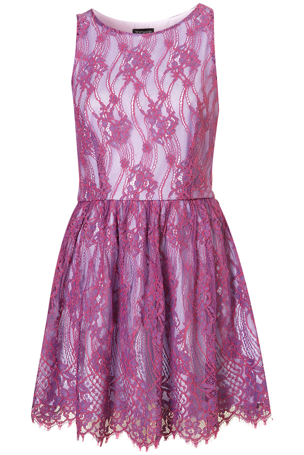 Topshop Lace Skater Dress In Purple Lyst