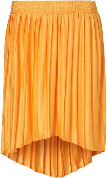 Topshop Tangerine Dip Back Skirt in Orange (tangerine) - Lyst