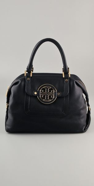 Tory Burch Amanda Satchel in Black - Lyst