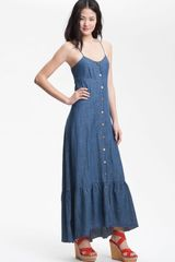 Free People Cutout Back Chambray Maxi Dress - Lyst