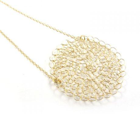Sari Glassman Danit Knitted Necklace 14k Gf in Gold - Lyst