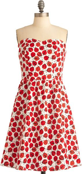 Modcloth Ladybug in Red Dress in Red