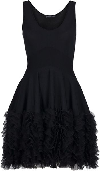 Alexander Mcqueen Ruffle Skater Dress in Black - Lyst