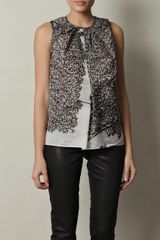 Balenciaga Leaves Print Silk Top - Lyst
