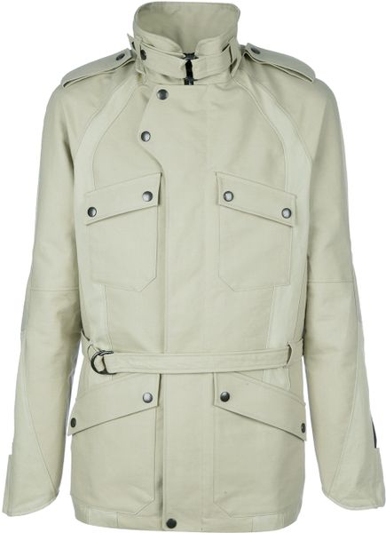 Balmain Belted Jacket in Beige for Men - Lyst