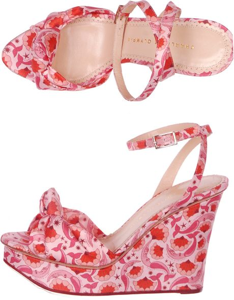 Charlotte Olympia Miranda Mermaidprint Wedges in Pink (mermaid) - Lyst