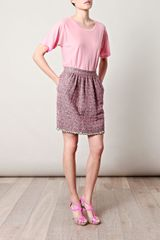 D&g Tweed Pleatfront Skirt in Purple (multi) - Lyst