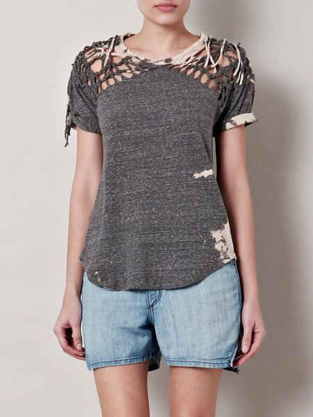 Isabel Marant Tizy Tiedye Braided Top in Gray (grey)