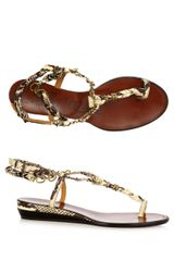 Lanvin Python Sandals in Brown - Lyst