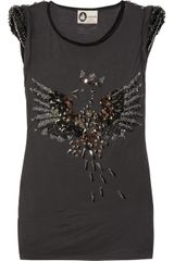 Lanvin Embellished Jersey Top in Gray (slate) - Lyst