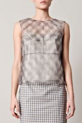 Marc Jacobs Ginghamprint Organza Top in Gray (grey) - Lyst