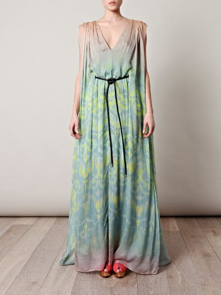 Matthew Williamson Ikat Fazeprint Fulllength Dress in Green - Lyst