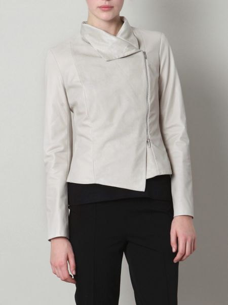 Max Mara Agente Leather Jacket in Beige (cream) - Lyst
