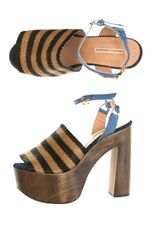 Opening Ceremony Striped Raffia Sandals - Lyst