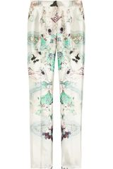 Prabal Gurung Printed Wool And Silk Blend Straight Leg Pants