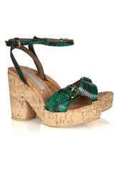 Stella McCartney Faux Snakeskin Cork Sandals - Lyst