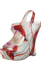 Alice + Olivia Snakeprint Wedge Sandal - Lyst