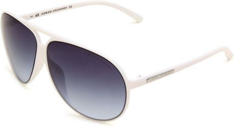 Armani Exchange Ax213s Aviator Sunglasses in White for Men ...