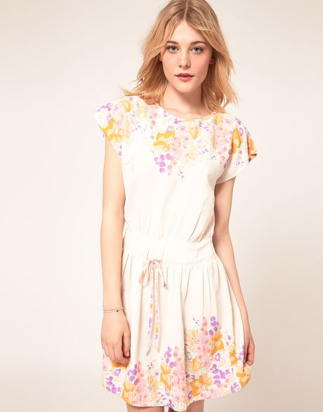 Asos Collection Skater Dress With Floral Border Print in Beige (cream) - Lyst