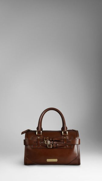 Burberry Medium Bridle Leather Bowling Bag in Brown (dark tan) - Lyst