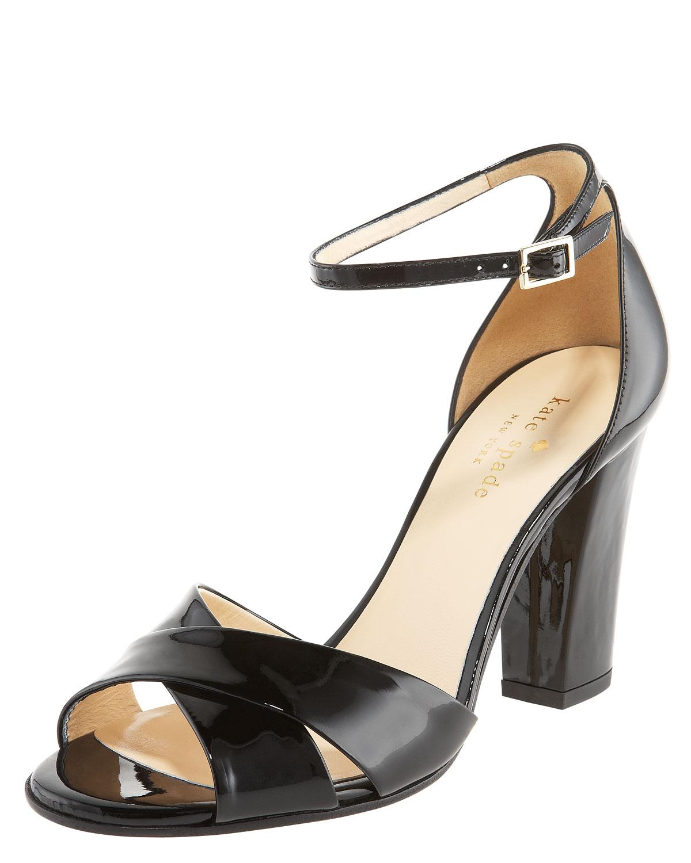 e47e1d723805 Lyst - Kate Spade Isabel Crisscross Patent Sandal in Black