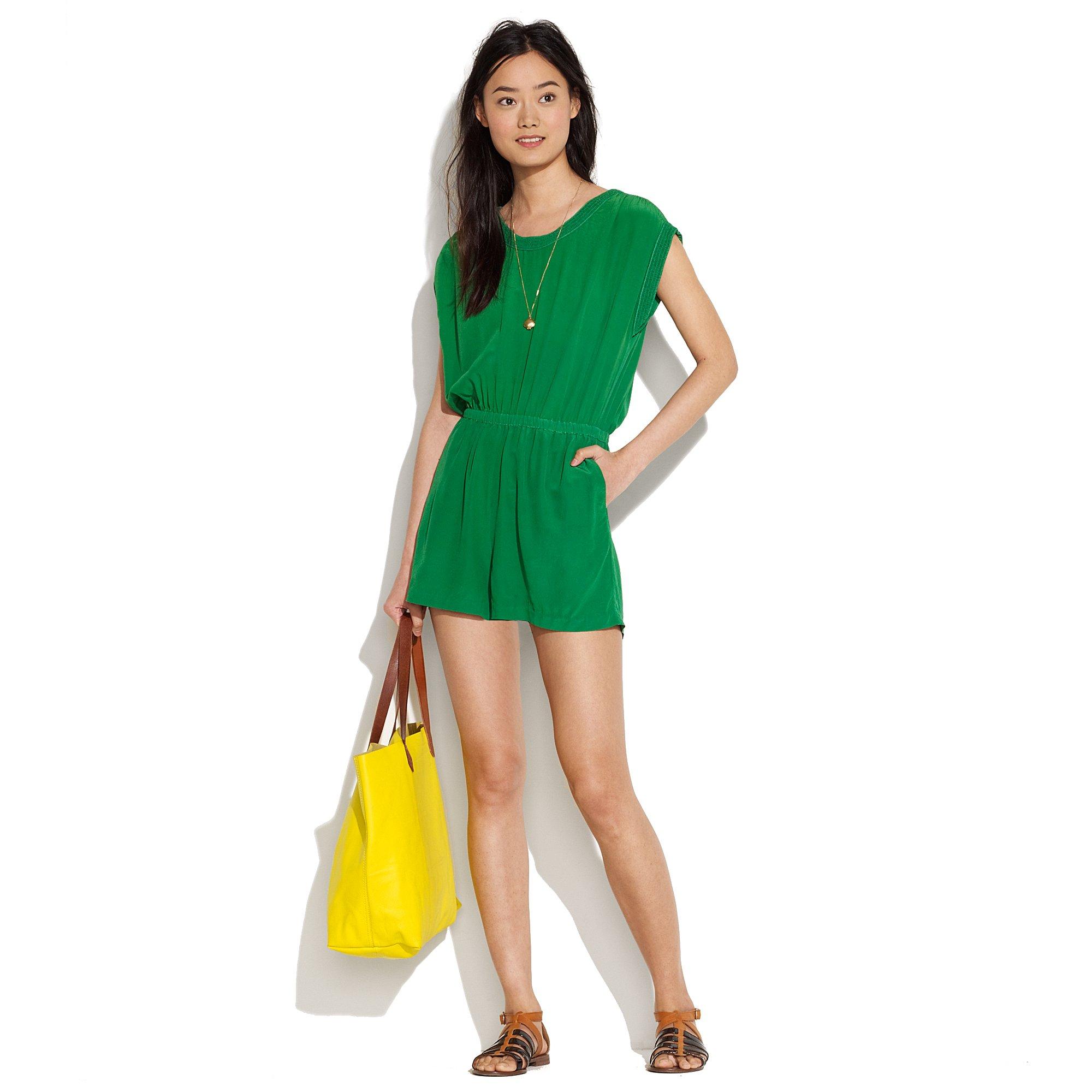 ffa7f5b54550 Lyst - Madewell Silk Mosswood Jumpsuit in Green