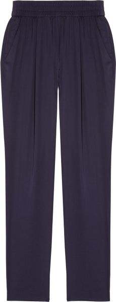 Maje Human Slouchy Satin Pants in Blue - Lyst