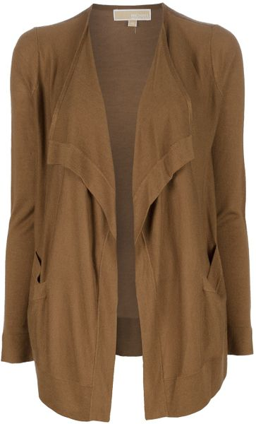 Michael Kors Open Front Cardigan in Brown - Lyst