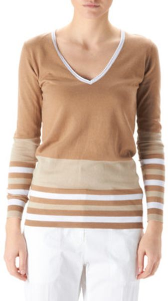 Patrizia Pepe Top in Beige (beige white stripes) - Lyst