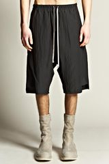 Rick Owens  Basket Swinger Drop Crotch Striped Shorts - Lyst