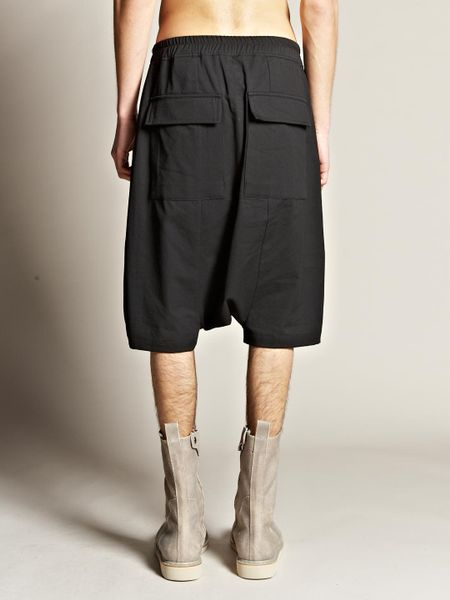 Rick Owens Mens Pod Drop Crotch Shorts in Black for Men - Lyst