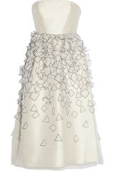 Tibi Appliquéd Silkorganza Dress in Beige (white) - Lyst